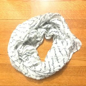 H&M scarf white with black letters soft fabric